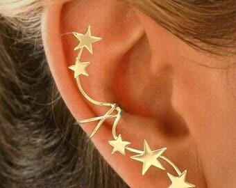 Full Ear Spray 5 Star Ear Cuff Non-pierced Earring Wrap in Rhodium or Gold on Sterling Silver