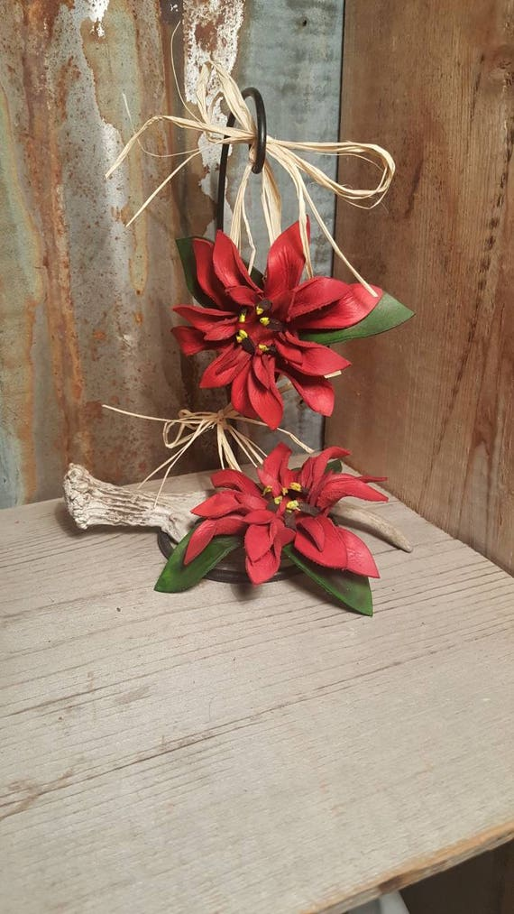 Leather Christmas Ornament, Poinsettia Christmas Ornament, Leather Ornament, Christmas Ornament