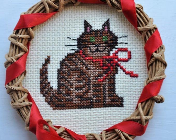 Vintage Swedish Straw & Needlepoint Cat Ornament Christmas