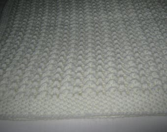 New Hand Knit White Baby Blanket / Shawl