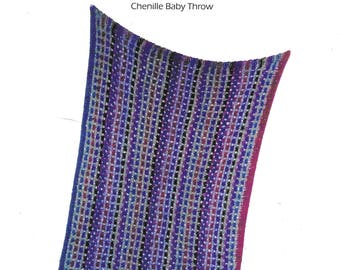 Designs By Judith Wildflowers Chenille Baby Throw Knitting Pattern for Baby DIY Shower Gift Knit and Purl Judith Shangold Modern Knit Throw