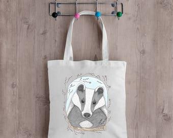 Badger Tote Bag - Woodland Baby Badger Cotton Canvas Bag - Autumn Fall Market Shopping School Book Bag