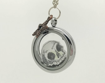 Coffee Plz Skull - Floating locket - Interchangeable - Hand Drawn
