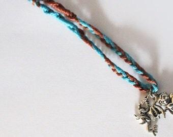 Fantastic wizard inspired creatures charm bracelet - Bird, monkey- Brown, turquoise