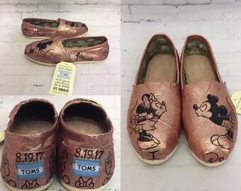 ROSE GOLD Mickey & Minnie Sketch Toms [Disney Wedding Shoes] Mickey Shoes. Rose Gold Minnie. Mickey and Minnie Kissing