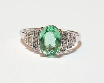 1.45ct Mozambique Paraiba Tourmaline and Diamond 10kt White Gold Ring Size 7.5
