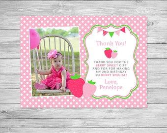 Strawberry Birthday Thank You Card Printable, Strawberry Thank You Card, Strawberry Shortcake, Strawberry