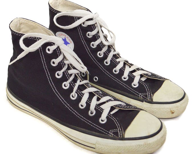 Vintage 90s Converse All Star Chuck Taylor Black High Tops Sneakers Shoes Sz 9