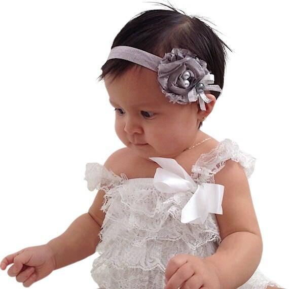 Flower Headband, Toddler Headband, Baby Headband, Babies Headband, Infant Headbands, Newborn Headband, Silver Headband, Baptism Headband