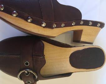 MIU MIU Vintage Brown leather clogs, UK size 4.5