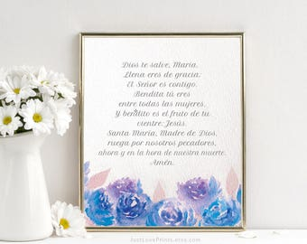 Ave Maria (Hail Mary) | Catholic Spanish Art | 8x10 Print