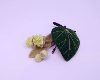 Brooch Linden flowers from wool Hand made