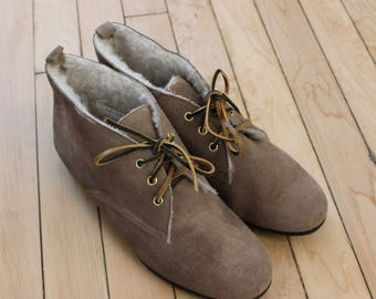 Vintage Brown Leather Lace Up Ankle Boots / Womens 8.5