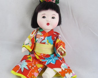 "Japan Gofun Baby Girl Doll 9.5"" Glass Eyes Vintage"