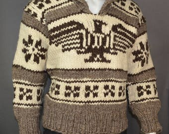Authentic Cowichan Sweater Thunderbird Indian Pullover - Mens Medium