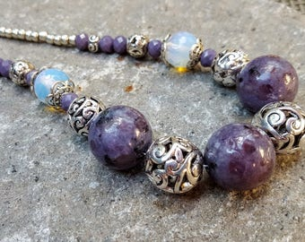 Dusty Purple Kiwi Jasper and Flashy Opal Gemstone Bead Necklace Silver Scrollwork Beads 19.5 Inch