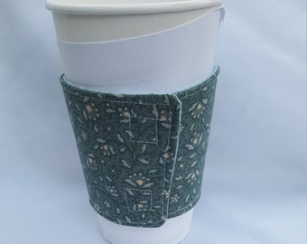Beverage or Coffee Cozy - Blue green floral print - reversible