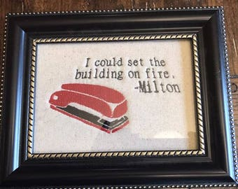 Office Space Machine embroidery 5 x 7 hoop.