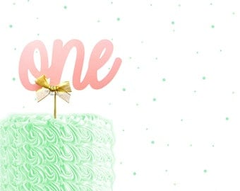 Large ONE Pink Shimmer Cake Topper - 1st Birthday, Birthday cake Topper, gold and pink birthday cake topper, custom number cake topper