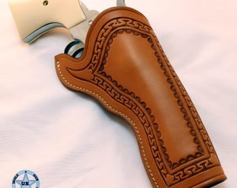 California Slim Jim Style Holster, Ruger Vaquero 4-5/8 inch, Serpentine Stamped