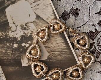 1950s Pearl Heart Bracelet