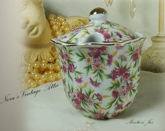 Antique Jelly Jar / Preserves / Condiment Container / Chintz