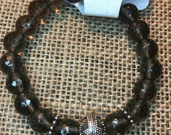 Faceted smoky quartz and sterling silver bracelet
