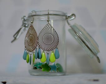 Drop earrings prints perforated silver metal and sequins drops in turquoise and green - enamel chandelier earrings