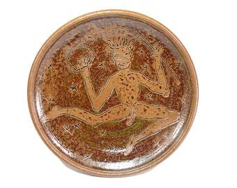 Cernunnos Pottery Ritual Offering Bowl Horned God Altar Cakes Plate