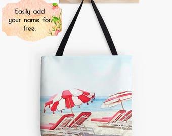 Personalized Beach Bag, Shopping Tote Bag, Resort Tote, Coastal Ocean Still Life Bag, Drawstring Bag, Customized Tote Bag, Red Blue Gift