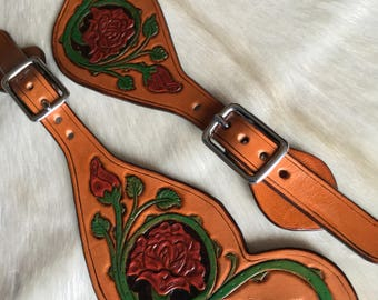 Spur straps leather tooled with rose design