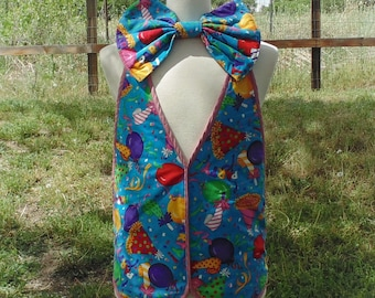 Birthday Clown Oversized Bow Tie and Vest Combo