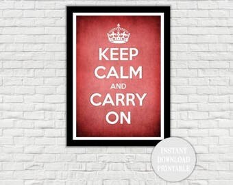 "KEEP CALM and CARRY On Printable 11x14"" Home Decor Wall Art Print Wedding Love Carry On Crown Vintage War"