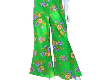 1970's Wide Leg Bell Bottom Polyester Hippie Bohemian Floral Bright Neon Pants