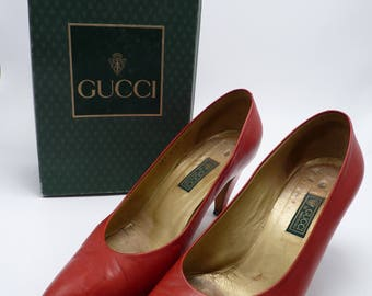 60's Gucci Red Leather Pumps In Original Box