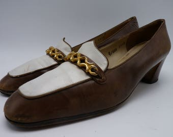 SALVATORE FERRAGAMO Brown and White Heels / Loafers with Gold Buckles
