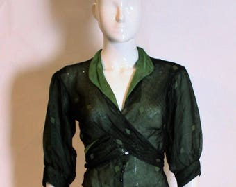 1930's vintage dark green wrap top with original square graphic motif
