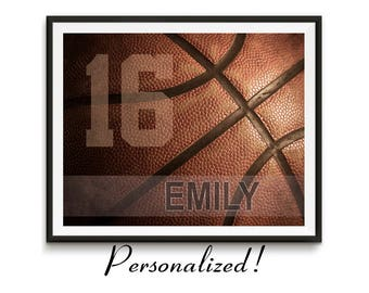 Personalized basketball gifts, Sports Team Gift, Basketball art, Game room art, Girls Basketball gift, Boys room art, Canvas // Basketball