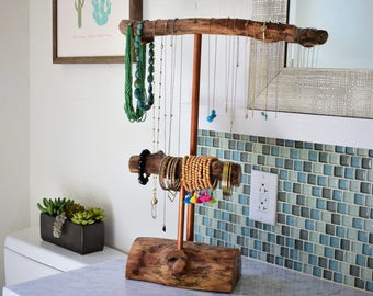Two Tier Jewelry Stand Copper- Rustic Jewelry Holder