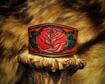 Leather Rose Flower Bracelet Cuff