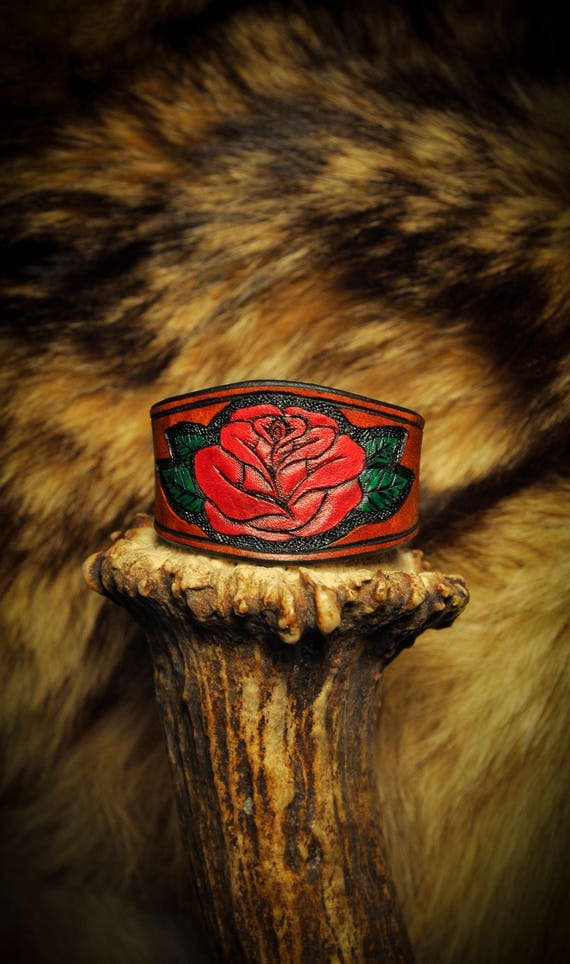 Leather Rose Flower Bracelet Cuff