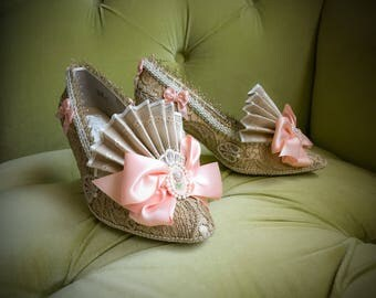Antique Champagne Gold Lace Peach Satin Costume Wedding Heels Shoes Marie Antoinette Cosplay Baroque Rococo Fairytale Fantasy Burlesque