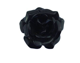 Vintage Enamel Flower Brooch, Black Enamel Flower Brooch, Black Enamel Rose Brooch, Black Flower Brooch, Black Rose Brooch
