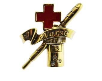 Gold Nurse Brooch, Gold Nursing Brooch, #1 Nurse Pin