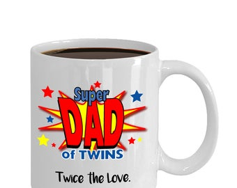 Twins Coffee Mug, Super Dad of Twins, new dad gift, gift for him, gifts for dad, coffee mug, twins gift, shower gift, baby gift  (JGSM151)