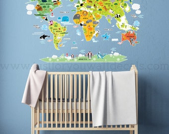 Map Wall Decal, Kids Map Wall Decal, Playroom Wall Decals, Playroom Wall Decal, Nursery Wall Decal, Animal Wall Decal, Nursery Art 01-0060