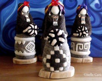 Needle Felted Mapuche Dolls, felt, wool, waldorf, machi, shaman