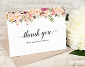Personalized Thank You Card Set  / Flower Pretty Classic Stationery / Stationary Notes //  PAINTED FLORALS I FOLDED