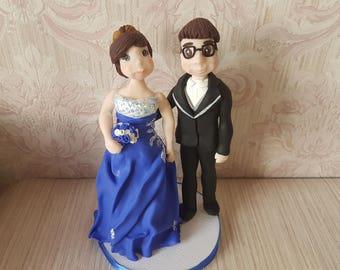 Blue wedding cake topper
