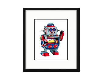Robot art Robot drawing Toy robot illustration Kid's room wall decor Robot nursery art Robot children's art Toy illustration Toy wall art